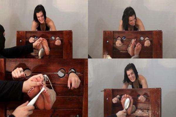 WayTooTicklish - Meredith Tickled in Stocks Bare FeetWayTooTicklish