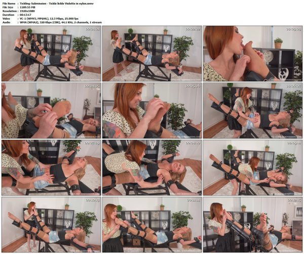 Tickling-Submission - Tickle lickle Violette in nylonTickling VIP Clips