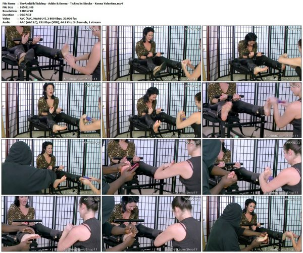 ShyAndWildTickling - Addie & Kenna - Tickled in Stocks - Kenna ValentinaShyAndWildTickling