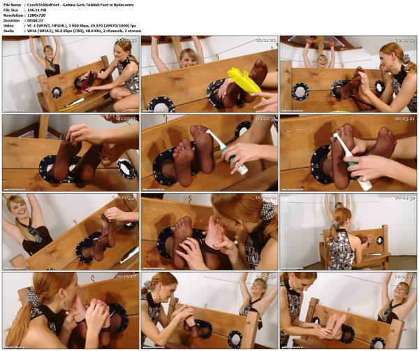 CzechTickledFeet - Gabina Gets Ticklish Feet in NylonTickledFeet
