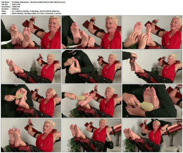 Tickling-Submission - Barefoot tickled Sharon with oiled feetTickledFeet