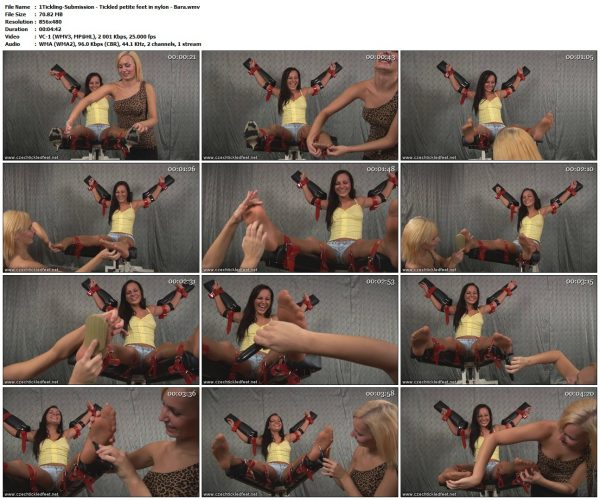Tickling-Submission - Tickled petite feet in nylon - BaraTickledFeet
