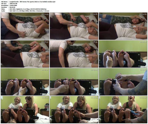 LaughsForLife - BFD Series The sports chick vs Too ticklish newbieLaughsForLife VIP Clips