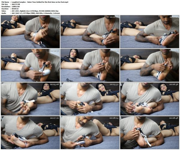 LaughterComplex - Sister Ynez tickled for the first time on her feetLaughterComplex VIP Clips