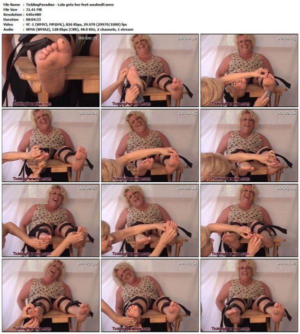 TicklingParadise - Lola gets her feet washed!!TicklingParadise