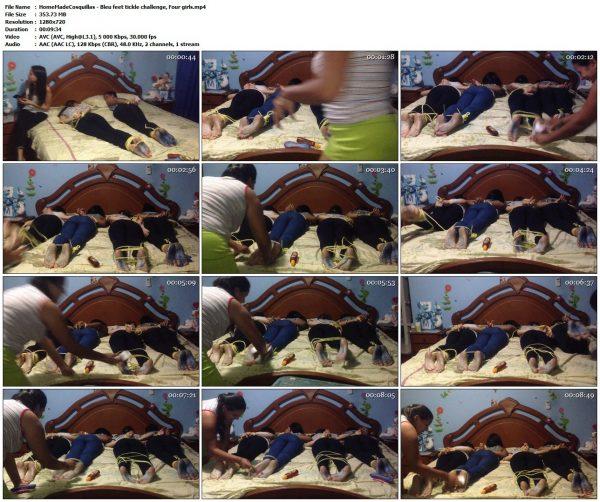 HomeMadeCosquillas - Bleu feet tickle challenge, Four girlsHomeMadeCosquillas VIP Clips