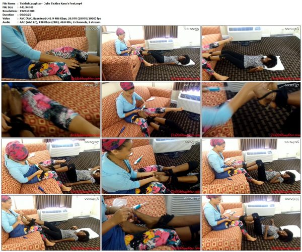 TicklishLaughter - Julie Tickles Kara's FeetTicklishLaughter VIP Clips