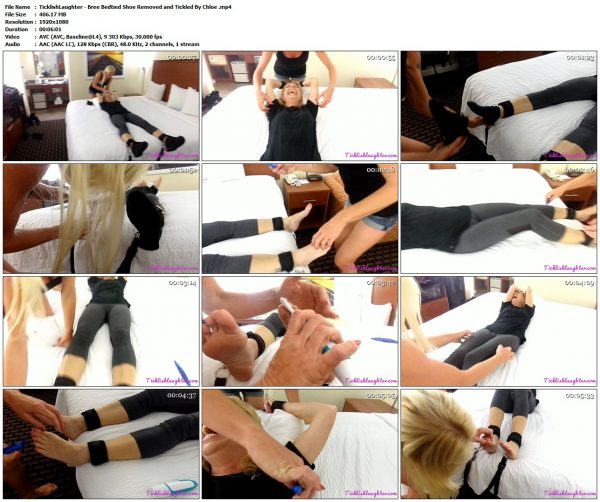 TicklishLaughter - Bree Bedtied Shoe Removed and Tickled By ChloeTicklishLaughter VIP Clips