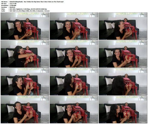 GlobalTicklingStudio - Naz Tickles Her Big Sister Sloe's Bare Soles on The Chair!GlobalTicklingStudio VIP Clips