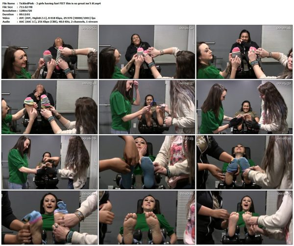 TickledPink - 3 girls having fun! FEET this is so great isn't it!TickledPink VIP Clips