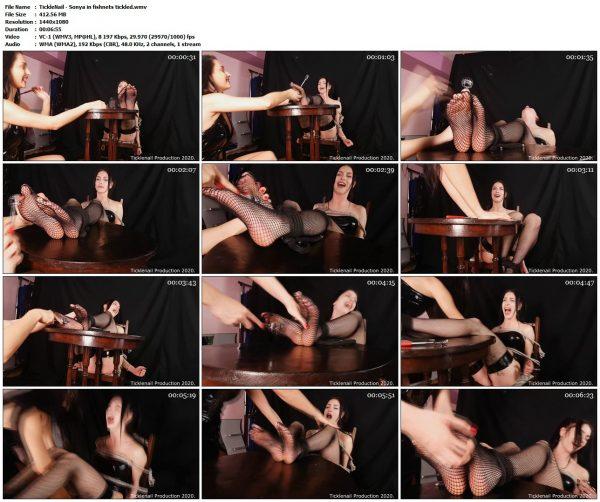 TickleNail - Sonya in fishnets tickledTickleNail VIP Clips