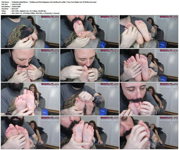 TickleWorshipVideos - Tickling and Worshipping Cute Redhead Lucille's Tiny Feet Right out of Platforms!TickleWorshipVideos VIP Clips